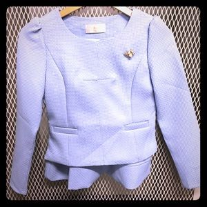 Powder Blue Spring Suit with Bubble Bee Pin
